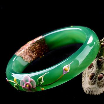 Natural Green Bracelets Colored Drawing Bangles Gift For Women Jade Jewelry