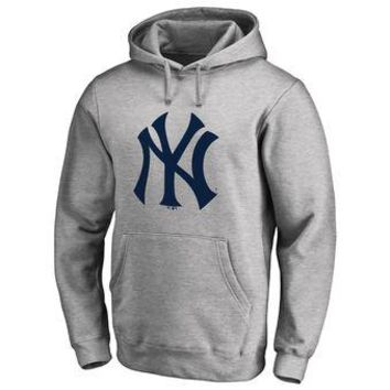 New York Yankees MLB Gray Fastball Fleece Pullover Hoodie
