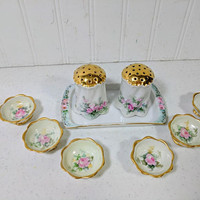 Salt & Pepper Shakers and Cellars 9 Piece Porcelain Set Handpainted China Collection Shabby Cottage Chic Pink Roses White Gold Free Shipping