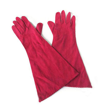 Lederer de France Gloves, Evening Gloves, Cotton Suede, Red Pink, Raspberry, French Gloves, Vintage Gloves, Size Small