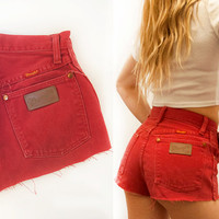 XS Red Hot High Waisted Wrangler Cutoffs | Red Denim Shorts Daisy Duke Southwestern Cowgirl Booty Shorts | 90s grunge 80s country western