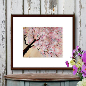 Watercolor Print Pink Cherry Blossoms Cherry Tree Abstract Art Nature 8 x 10 reproduction of my original watercolor painting