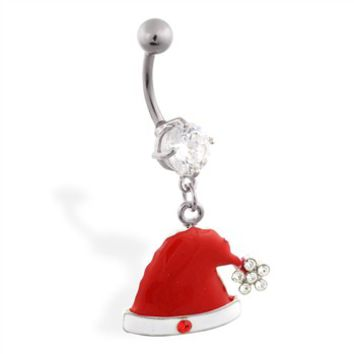 Christmas Belly Ring with Dangling Santa Hat