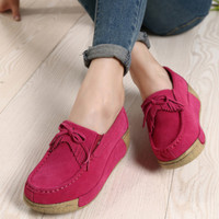 Women Flat Platform Shoes Spring Fashion Suede Leather Moccasins Shoes Woman Slip On Tassel Moccasin Women's Casual Shoes pcd49