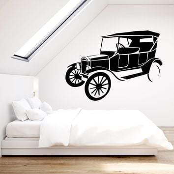 Vinyl Wall Decal Retro Car Vintage Style Decor Auto Repair Stickers (2436ig)