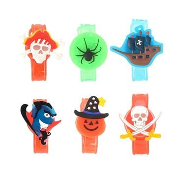 6Pcs Kids Wristbands Luminous Halloween Festival Vampire Hooded Pirate Spider Hat Pumpkin Sailboat Double Sword Skull Hand Rings