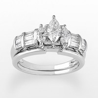 Marquise-Cut IGL Certified Diamond Engagement Ring Set in 14k White Gold (1 ct. T.W.)