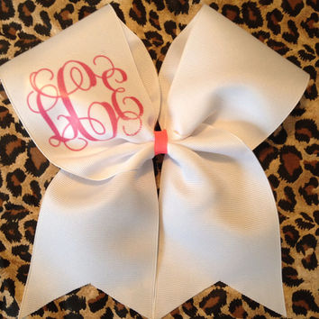 White Monogram Cheer Bow