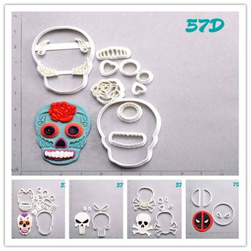 Sugar Skull Deadpool Cookie Cutter Set Custom Made 3D Printed Cookie Cutter Set Cake Decoration Tools Fondant Moulds for Cupcake