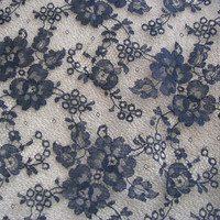 Navy Lace Fabric w Scallop Edge Remnant of 1/2 Yard