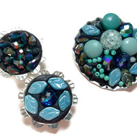 Teal Blue Magnets, Set of Three Jeweled Beaded Refrigerator Magnets
