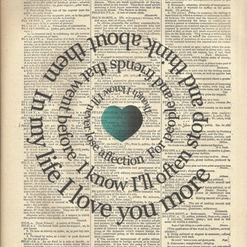 In My Life Song Print  - The Beatles - Spiral Lyric - Typography -  On Vintage Book Page