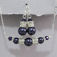 CUSTOM COLOR  - Swarovski Dark Purple Pearl and Purple Velvet Crystal Necklace and Earring Set, Bridesmaid Gift, Bridesmaid Jewelry Set