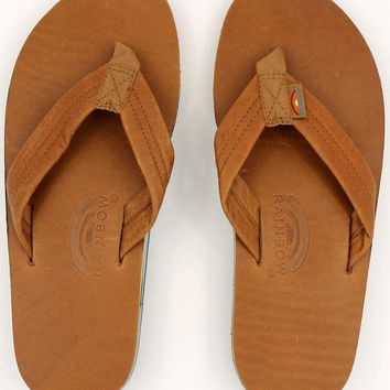 Classic Leather Double Layer Arch Sandal in Tan with Blue by Rainbow Sandals
