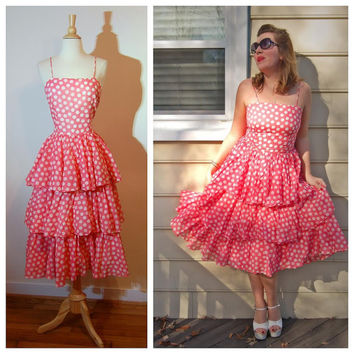80s Polka Dot Dress by Albert Nipon Pink White Tiered Skirt Tea Length Spaghetti Strap Girly Fun Summer Dress size Medium