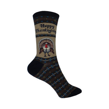 Happy Thanksgiving Crew Socks in Hemp Heather