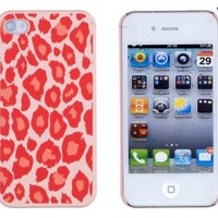 Coral Leopard Embossed Hard Case for Apple iPhone 4, 4S (AT&T, Verizon, Sprint) - Includes DandyCase Keychain Screen Cleaner [Retail Packaging by DandyCase]
