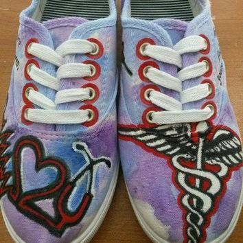 LMFON custom made nursing rn painted shoes toms converse vans keds nurse painted shoes