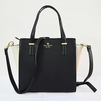 2018 New Kate Spade Women Fashion Shopping Leather Tote Handbag Shoulder Bag Color Off White & Black
