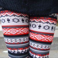 Santa Sleigh Red Fair Isle Leggings