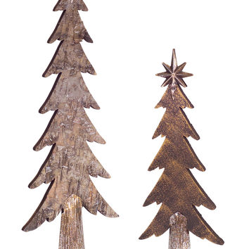 Jolly Holidays Collection Wooden Look Christmas Tree (Set of 2)