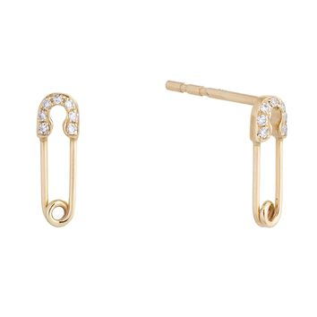 Diamond Safety Pin Earring 14KT