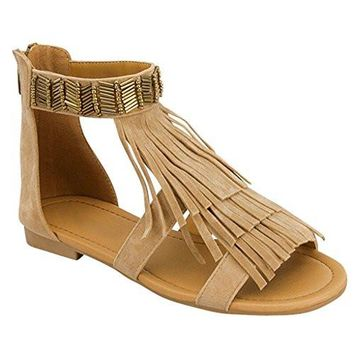 Ankle Flat Sandal Women's Fringe Faux Suede Thong Open Toe man made sole