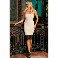 Ivory Beige Strapless Sweetheart Bodycon Party Dress - Women