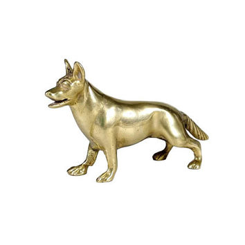 Vintage Brass German Shepherd Dog Figurine Small Animal Pet Statuette Sculpture Miniature Collectibles Paperweight Decor Dog Lover Gift