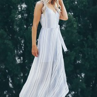 Striped Wrap Maxi White Blue