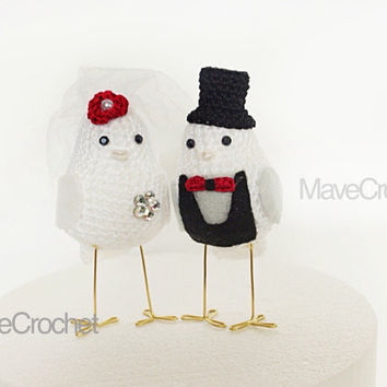 Red  Wedding Cake Topper Love Birds, Bird Wedding Cake Topper, Crocheted Love Birds set of two