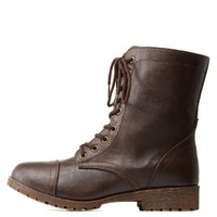 Brown Lace-Up Combat Boots by Charlotte Russe