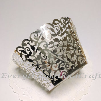 Metallic Silver Lace Cupcake Wrapper | Cupcakes Liner | Filigree Cake Wraps | Decorations Party Baby Shower Birthday Wedding 12pcs (#CP01S)