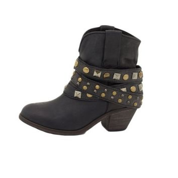 Corral Black Studded Wrap Ankle Boots P5021