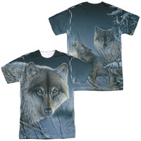 WILD WINGS/MIDNIGHT WOLVES (FRONT/BACK PRINT)-S/S ADULT POLY CREW-SUBLIMATE WHITE