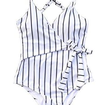 Cupshe Fashion Stay Young Stripe One-Piece Swimsuit Beach Swimwear Bathing Suit