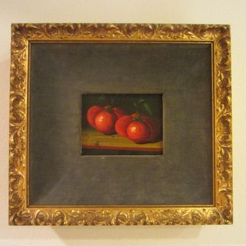 Still Life  Red Tomatoes Oil On Canvas Spanish Painting Signed JR