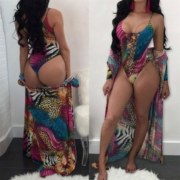 Jungle Print One Piece Swimsuit and Cover Up