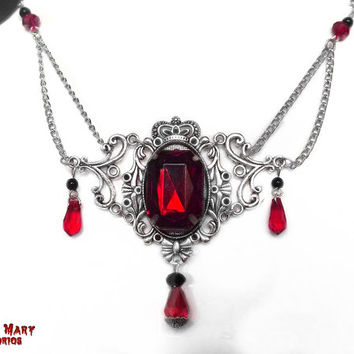 Victorian Necklace Bloody Vampire Countess Bathory Crystal drops red gothic jewelry Swarovsky Rhinestone Victorian gothic Vampire Crimson