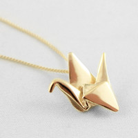 10K Gold Origami Crane Necklace