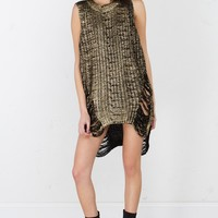 Sleeveless Foiled Sweater Dress in Black
