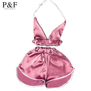 2016 summer casual Two pieces Outfits Sleeveless Sexy Satin Women Jumpsuit Romper Deep V-neck Bodysuit short Pants crop top pink