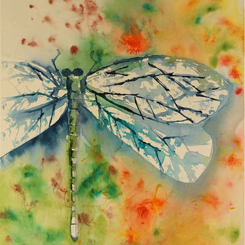 dragonfly watercolor painting large colorful original fine art blue green yellow gold