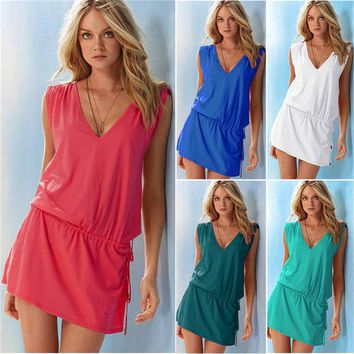 Beach Cover Up Sexy Robe Plage Beach Long Dress Pareos Solid color  Women Beach Tunic Sarong Bathing Suit