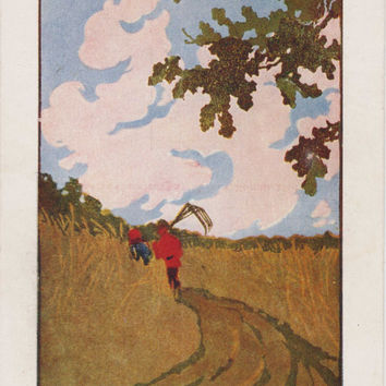 "V. Falileyev ""On the Road"" Print, Postcard -- 1964. Condition 7/10"