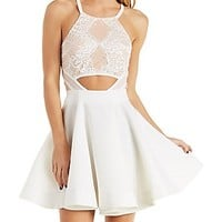 THE VINTAGE SHOP LACE OVERLAY SKATER DRESS