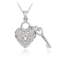 Sterling Silver Designer-Inspired Heart & Key CZ Necklace, 18""