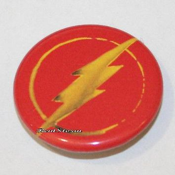 "Licensed cool DC  The Flash LOGO Lightning Bolt 1 1/4"" Button Pin Back Pinback Licensed"