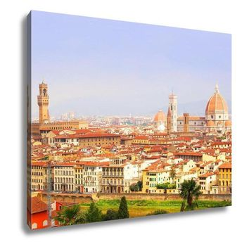 Gallery Wrapped Canvas, Florence View Palazzo Vecchio And Cathedral Of Santa Maria