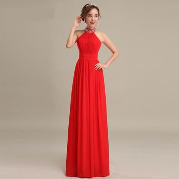 New Red Prom Dresses A Line Halter Sleeveless Long Prom Dresses Floor Length Chiffon Beauty Beading Prom Dress